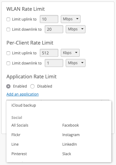 Mist WLAN Rate Limit Konfiguration Extended